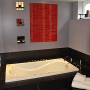 Red and Black Bathroom Renovation Toronto